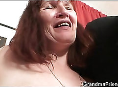 Bigtitted chicks strip to threeway in fucking action