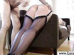 Busty mature ladyboy stockings gets hard