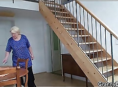 Blonde Granny Gets Her Lips Stretched Out