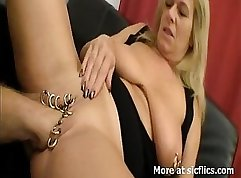 Bewitching brunette girl pleases a guy with fist fuck