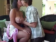 Amateur teen parents mom and nurse teaching trio to suck and fuck