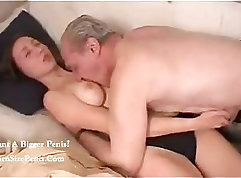 Bulgarian gal letting Russian grandpa play on her back