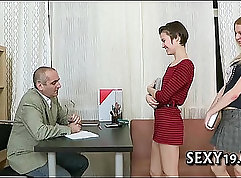 blonde is fucked from behind in the classroom by her teacher