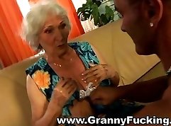 Big Ass Ebony Granny Plays With A Cock