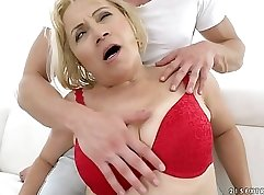Blonde Granny Doll Gets Banged