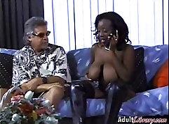 Black man in interracial threesome