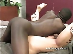 Black MILF with huge saggy tits gets her cooch fucked by white stud