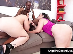 Bouncy tits latina Ava Jensen tries to blow big black dick