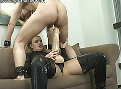 Awesome ass sex with femdoms grinding each other