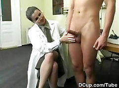 Busty nurse gets shower sex