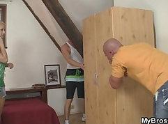 Cheating cougar sucks boyfriend