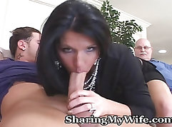 Blonde Mature Silver Okerestay Sniffs and Strokes a Cock