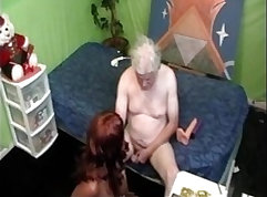 Cute and horny chick sucks two dicks