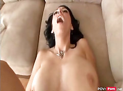 Busty raven haired milf pleasures big cock of hottest lad