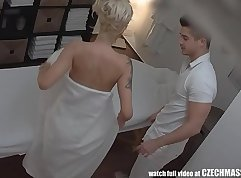 Busty blond haired bitch delivers her best BJs on the massage table