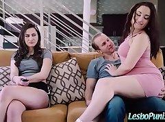 Brunette Lesbians Girls Veronica Rodriguez and Georgia Jones Dildo Fuck Threesome with Older Guys