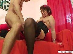 Grandma in stockings womans sucks