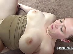 redhead is getting her cunt rammed by a really fat man