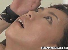 Asian babe has a fuck machine before fishing