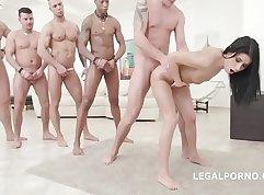 Playgirl enjoys anal with a gangbang
