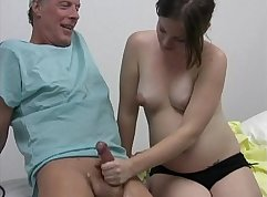 Public nurse gives handjob to dudes ready to get fucked