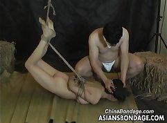 Asian slut fucks handsome bdsm