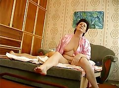 Russian mature milf doggystyled by young stud