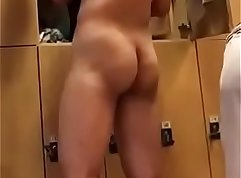 Asian bating alone at the spy cam