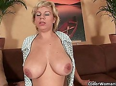 Mature mother magic pussy toy on bed sk