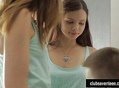 Gorgeous teens Tina and Mandy sharing cock and cum