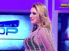 Charming Brazilian beauty wearing sexy lingerie and bouncing