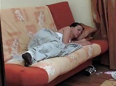 Blindfolded Brunette Stepsister Having Fun At Home After