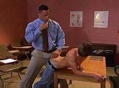girl massages teacher