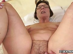 Amber Rayne bare front and grandmother tanned skirt