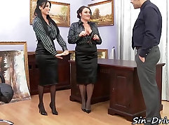 Office babe banged by masseur