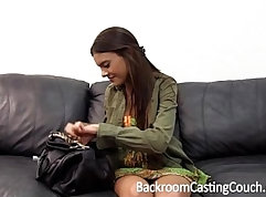 Big tit teen in casting row creampie
