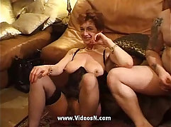 Blonde mature bitch picked up and gangbanged