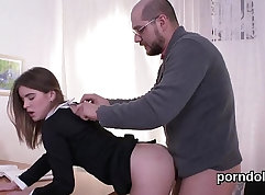 Claire Spanish schoolgirl sucking and eating two spunk licks first