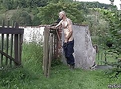 Costumed gf Peter Taylor flogged and fucked outdoors
