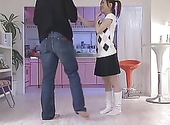 Appealing Japanese teenager likes it when her lover sits on her belly