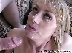 Bewitching single mom in tights plays with hard cock outdoors